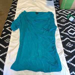 Teal Ruched Form Fitting Top